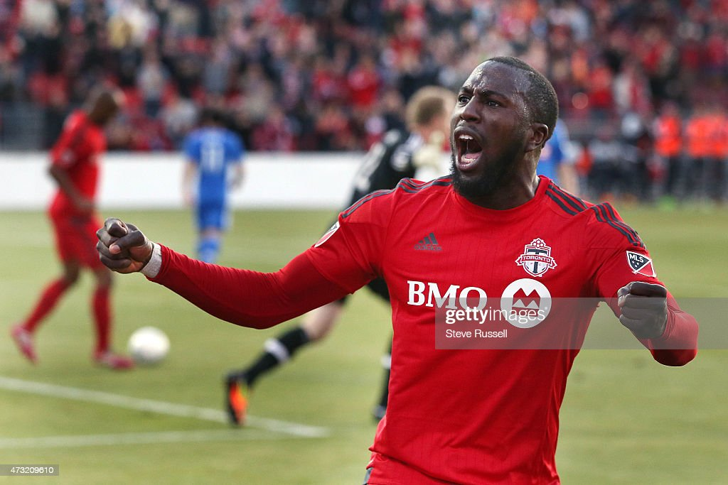 TORONTO, ON- MAY 13 - Toronto FC forward Jozy Altidore opens the scoring in the first half as Toronto FC plays Montreal Impact in the Semi-Final of the Amway Canadian Championship at BMO Field in Toronto. May 13, 2015.