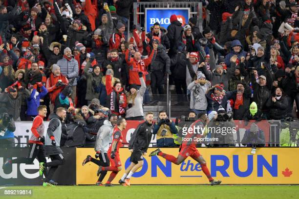 Toronto FC Forward Jozy Altidore runs in celebrating the team's first goal during the MLS Cup Final played between the Seattle Sounders and Toronto...