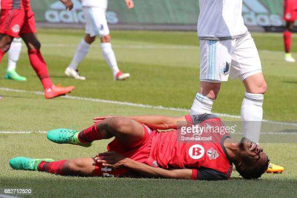 TORONTO MAY 13 Toronto FC forward Raheem Edwards is fouled in the box TFC was awarded a penalty as Toronto FC play Minnesota United in MLS action at...