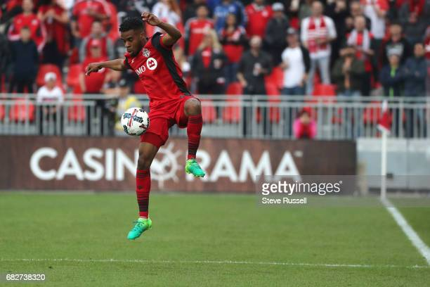 TORONTO MAY 13 Toronto FC forward Raheem Edwards keeps the ball inbounds as Toronto FC beats Minnesota United 32 in MLS action at BMO Field in...