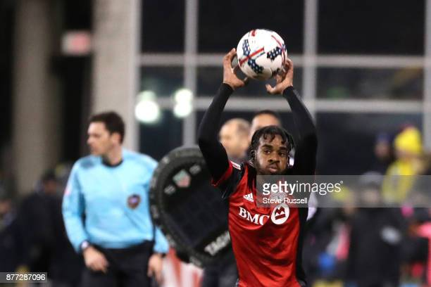 COLUMBUS OH NOVEMBER 21 Toronto FC forward Raheem Edwards throws in the ball as the Toronto FC plays the Columbus Crew in the first leg of the MLS...