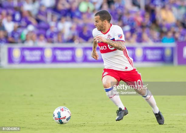 Toronto FC forward Sebastian Giovinco brings the ball up field during the MLS soccer match between the Orlando City SC and Toronto FC on July 5 2017...
