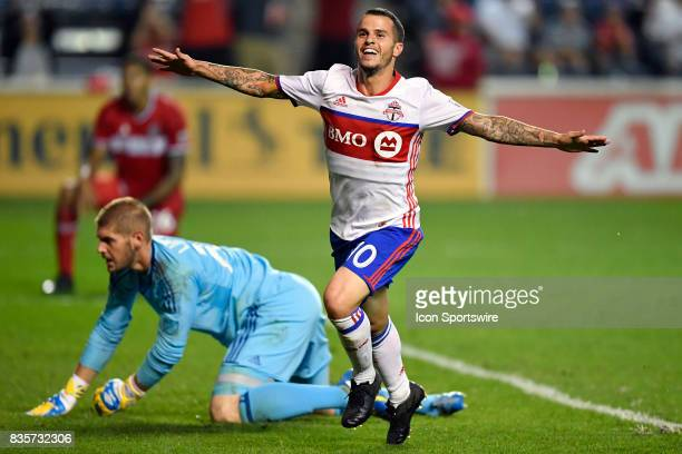 Toronto FC forward Sebastian Giovinco celebrates after scoring a goal during the match between the Toronto FC and the Chicago Fire on August 19 2017...