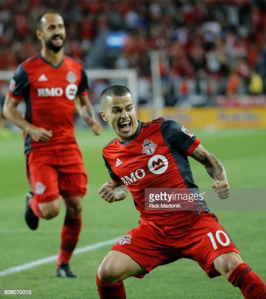 Toronto FC forward Sebastian Giovinco celebrates his goal Toronto FC vs Philadelphia Union during 1st half action in MLS regular season play at BMO...
