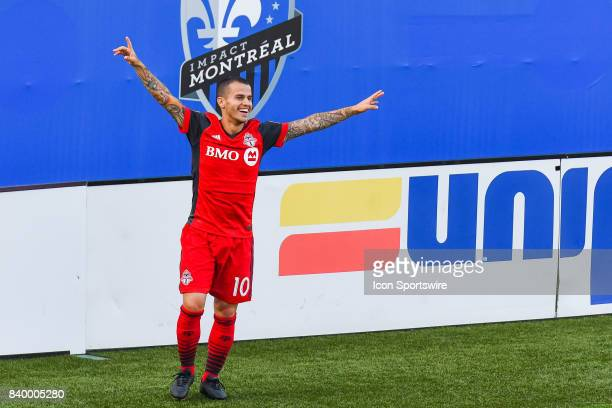 Toronto FC forward Sebastian Giovinco celebrating his goal making the score 31 Toronto during the Toronto FC versus the Montreal Impact game on...