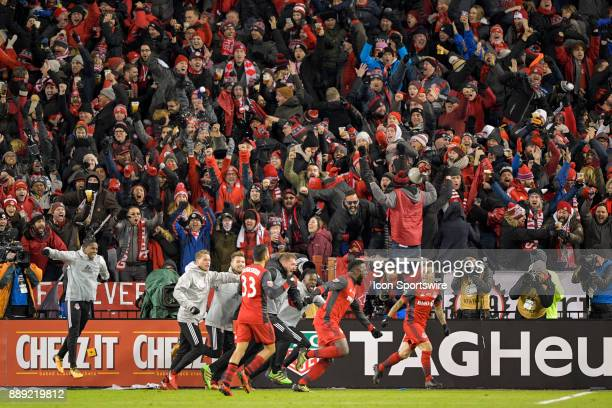 Toronto FC Forward Sebastian Giovinco in celebrating the team's first goal by Jozy Altidore during the MLS Cup Final played between the Seattle...