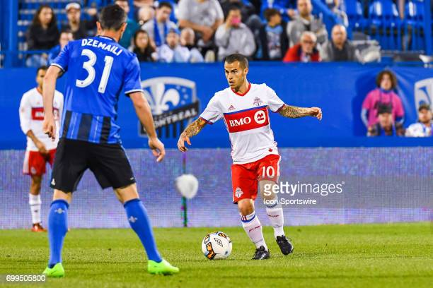 Toronto FC forward Sebastian Giovinco in control of the ball during the Toronto FC versus the Montreal Impact game on June 21 at Stade Saputo in...