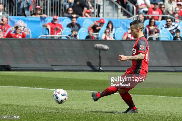 TORONTO MAY 13 Toronto FC forward Sebastian Giovinco scores on a penalty kick as Toronto FC play Minnesota United in MLS action at BMO Field in...