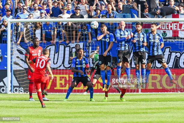 Toronto FC forward Sebastian Giovinco shooting a free kick during the Toronto FC versus the Montreal Impact game on August 27 at Stade Saputo in...