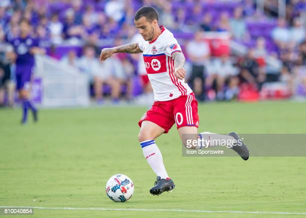 Toronto FC forward Sebastian Giovinco shoots on goal during the MLS soccer match between the Orlando City SC and Toronto FC on July 5 2017 at Orlando...