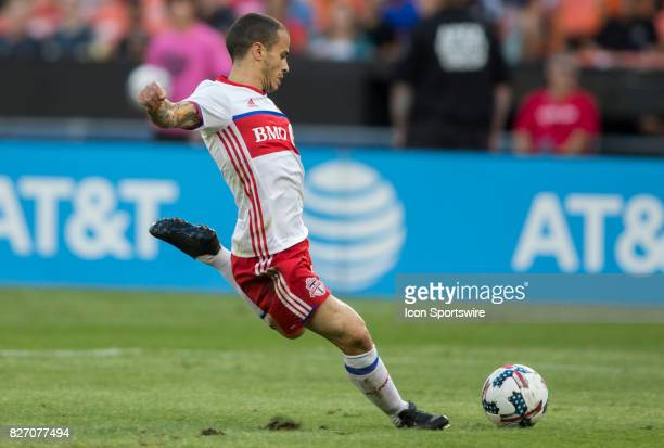 Toronto FC forward Sebastian Giovinco takes a shot during a MLS match between DC United and Toronto FC on August 05 at RFK Stadium in Washington DC...