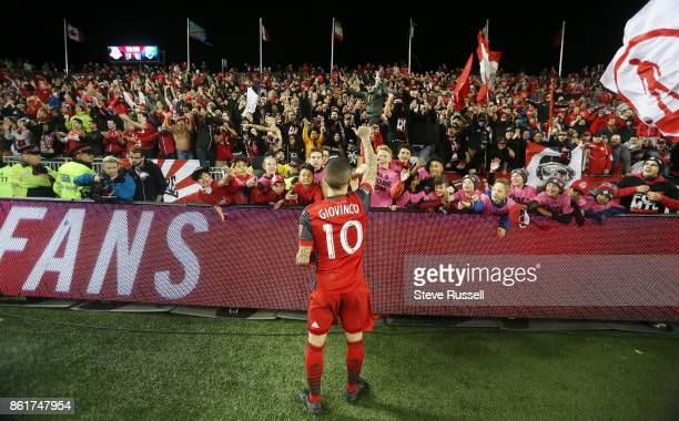 TORONTO ON OCTOBER 15 Toronto FC forward Sebastian Giovinco thanks fans after the game as Toronto FC play the Montreal Impact on the day they are...