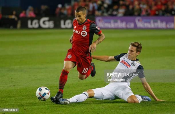 Toronto FC forward Sebastian Giovinco thinks he has eluded Philadelphia Union defender Jack Elliott but Elliot would catch up and deflect the ball...