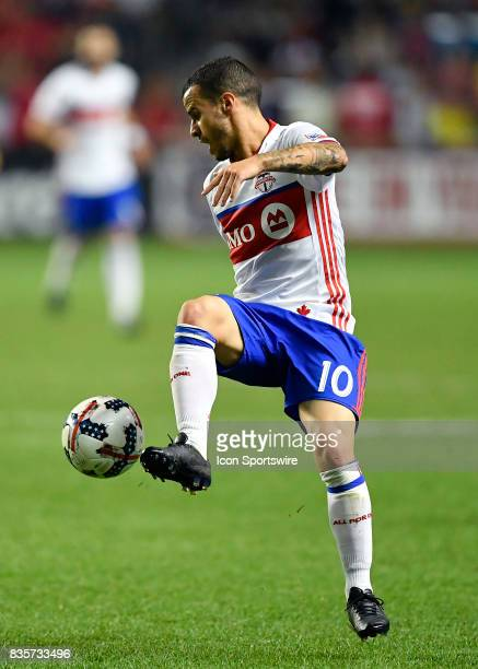 Toronto FC forward Sebastian Giovinco traps the ball during the match between the Toronto FC and the Chicago Fire on August 19 2017 at Toyota Park in...