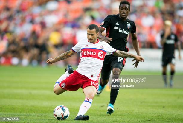 Toronto FC forward Sebastian Giovinco winds up for a shot during a MLS match between DC United and Toronto FC on August 05 at RFK Stadium in...