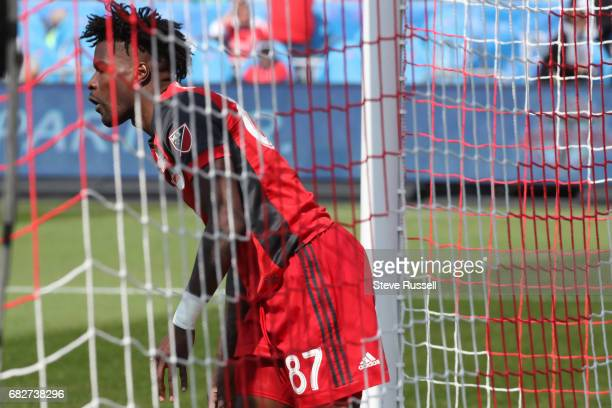 TORONTO MAY 13 Toronto FC forward Tosaint Ricketts ends up in the net after a near miss as Toronto FC beats Minnesota United 32 in MLS action at BMO...
