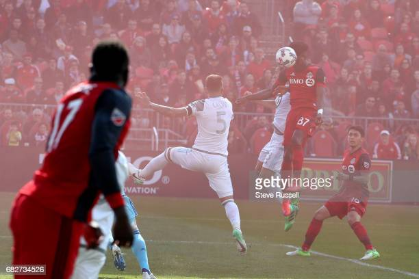 TORONTO MAY 13 Toronto FC forward Tosaint Ricketts gets his head on a Toronto FC forward Jozy Altidore pass to score the winner as Toronto FC beats...
