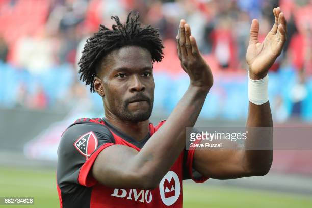 TORONTO MAY 13 Toronto FC forward Tosaint Ricketts salutes the fans after the game as Toronto FC beats Minnesota United 32 in MLS action at BMO Field...