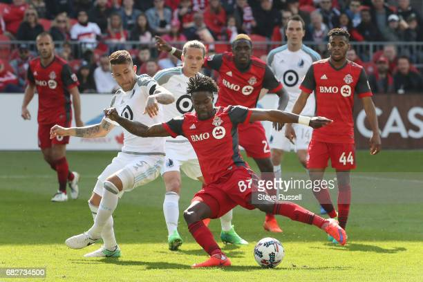 TORONTO MAY 13 Toronto FC forward Tosaint Ricketts takes a shot on net as Toronto FC beats Minnesota United 32 in MLS action at BMO Field in Toronto...