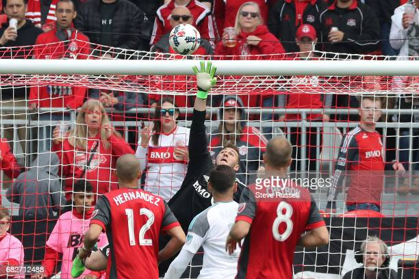 TORONTO MAY 13 Toronto FC goalkeeper Alex Bono makes a save as Toronto FC play Minnesota United in MLS action at BMO Field in Toronto May 13 2017