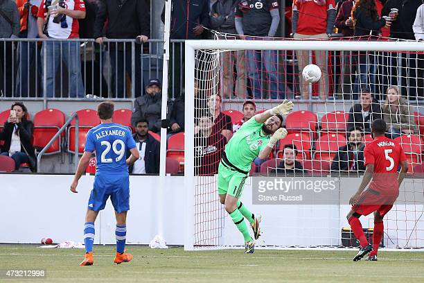 TORONTO ON MAY 13 Toronto FC goalkeeper Chris Konopka makes a stop in the first half as Toronto FC plays Montreal Impact in the SemiFinal of the...