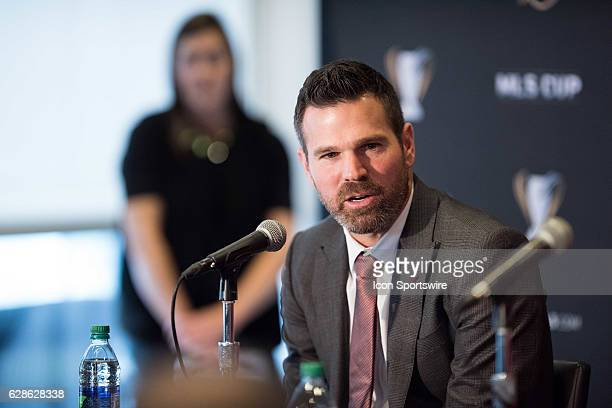 Toronto FC head coach Greg Vanney answers a question during the MLS Cup Team Press Conference on December 8 at Kia Training Ground in Toronto ON...