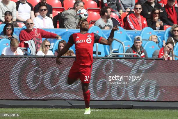 TORONTO MAY 13 Toronto FC midfielder Armando Cooper keeps the ball inbounds as Toronto FC beats Minnesota United 32 in MLS action at BMO Field in...