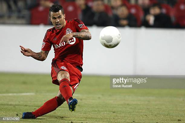 TORONTO ON MAY 13 Toronto FC midfielder Sebastian Giovinco follows through on the winning goal as Toronto FC beats the Montreal Impact 32 in the...