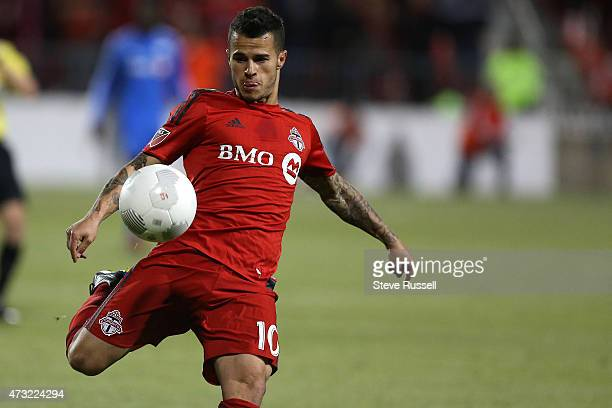TORONTO ON MAY 13 Toronto FC midfielder Sebastian Giovinco lines up a shot as Toronto FC beats the Montreal Impact 32 in the SemiFinal of the Amway...
