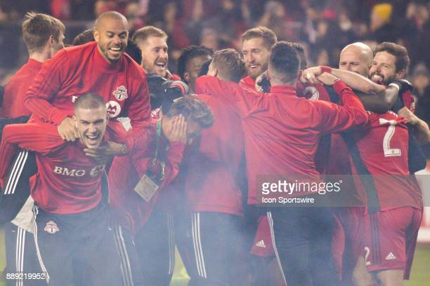 Toronto FC Players celebrate their MLS Cup win after the defeating the Seattle Sounders 20 December 09 2017 at BMO Field in Toronto ON Canada