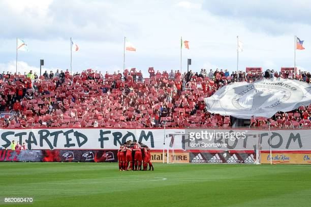 Toronto FC supporters organize a tifo display as the team huddles up before the MLS Soccer regular season game between Toronto FC and Montreal Impact...