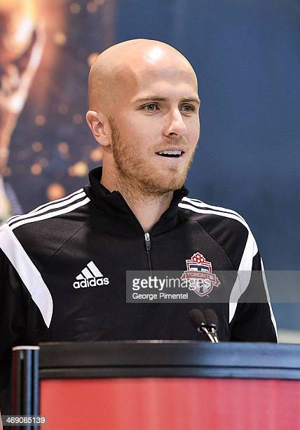 Toronto Football Club midfielder Michael Bradley attends the Canadian soccer fans getting up close and personal with the coveted FIFA World Cup...