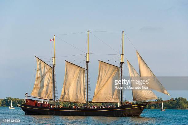 Toronto Lake Ontario tourist activities in the Waterfront Kajama Cruise Typical old three mast sailing boat on the water Threemasted schooner on Lake...