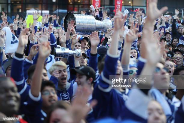 TORONTO ON APRIL 17 Toronto Maple Leaf fans cheer before the Toronto Maple Leafs play the Washington Capitals in game three of their NHL first round...