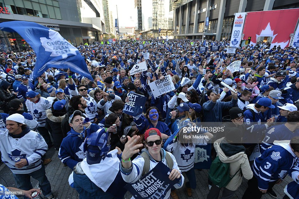 Toronto Maple Leaf fans react to the Game 7 action in Boston between Toronto Maple Leafs and Boston Bruins. The winner of the game goes on to Round 2 of NHL playoffs.