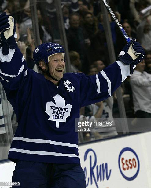 Toronto Maple Leaf forward and captain Mats Sundin scored 3 goals tonight including the overtime winner in action vs the Calgary Flames at the Air...