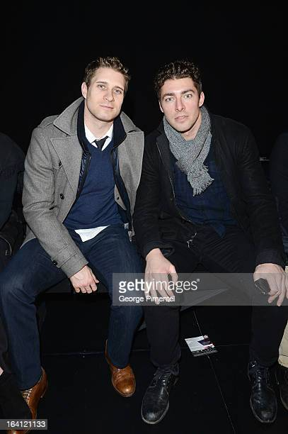 Toronto Maple Leaf Hockey players Joffrey Lupul and JohnMichael Liles attend the Laura Siegel fashion show at the World MasterCard Fashion Week Fall...