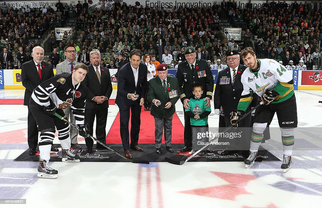 Toronto Maple Leaf hockey President Brendan Shanahan drops the puck prior to play between the Val'Dor Foreurs and the London Knights in Game One of the 2014 Mastercard Memorial Cup Championship at the Budweiser Gardens on May 16, 2014 in London, Ontario, Canada.