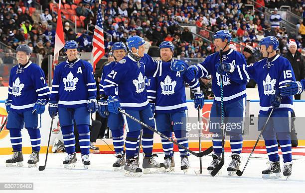 Toronto Maple Leafs alumni Borje Salming takes to the ice during the 2017 Rogers NHL Centennial Classic Alumni Game at Exhibition Stadium on December...