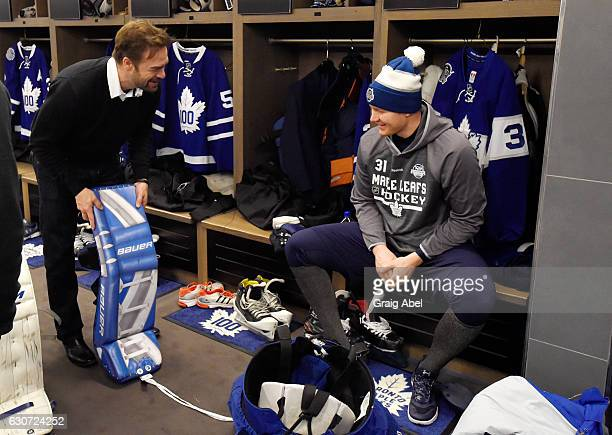 Toronto Maple Leafs alumni Curtis Joseph talks with Toronto Maple Leafs goaltender Frederik Andersen prior to the 2017 Rogers NHL Centennial Classic...