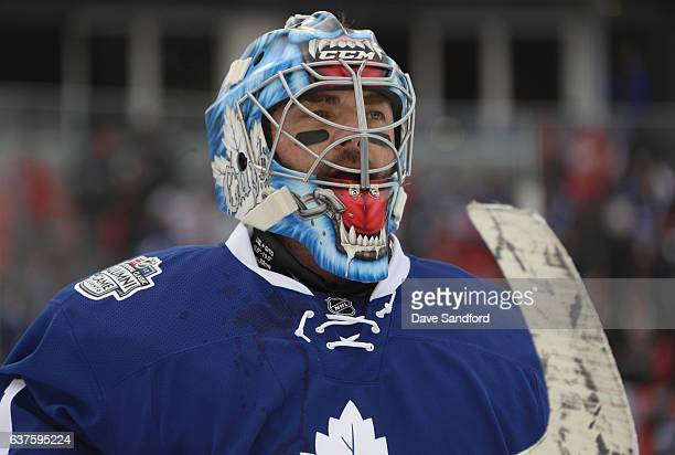Toronto Maple Leafs alumni Cutis Joseph looks on before playing in the 2017 Rogers NHL Centennial Classic Alumni Game against the Detroit Red Wings...