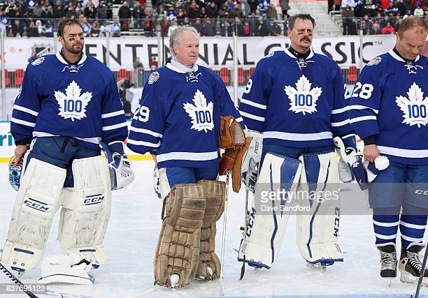 Toronto Maple Leafs alumni goaltenders Curtis Joesph Mike Palmateer and Felix Potvin prepare to play in the 2017 Rogers NHL Centennial Classic Alumni...