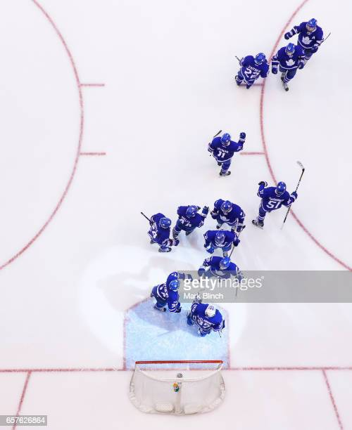 Toronto Maple Leafs celebrate their win against the New Jersey Devils at the Air Canada Centre on March 23 2017 in Toronto Ontario Canada