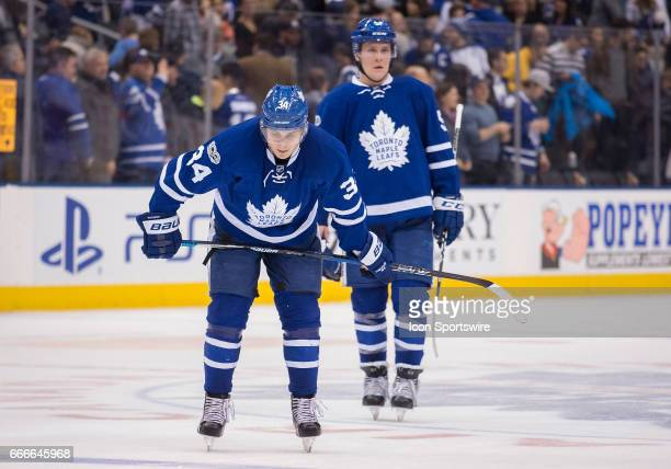 Toronto Maple Leafs center Auston Matthews skates off the ice at the end of the third period in a game against the Columbus Blue Jackets on April 9...