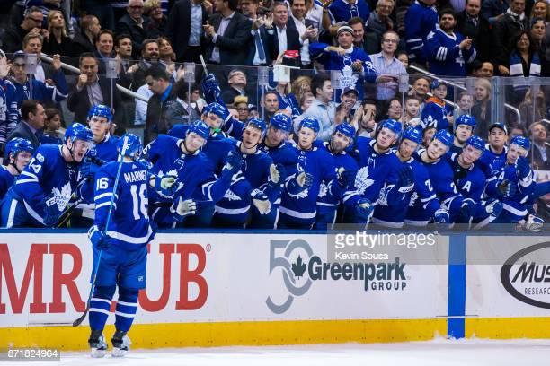 Toronto Maple Leafs center Mitchell Marner celebrates his shoot out goal against the Vegas Golden Knights with teammates at the Air Canada Centre on...