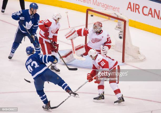 Toronto Maple Leafs center Nazem Kadri scores a goal on Detroit Red Wings goalie Petr Mrazek during the second period in a game at Air Canada Centre...