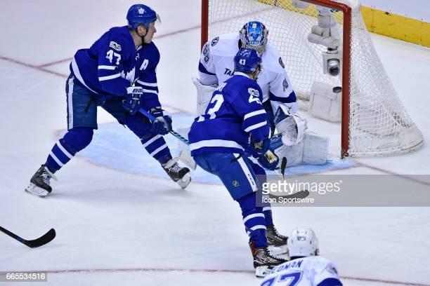 Toronto Maple Leafs Center Nazem Kadri scores a second period goal on Tampa Bay Lightning Goalie Andrei Vasilevskiy during the regular season NHL...