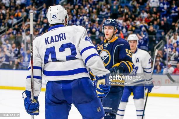 Toronto Maple Leafs Center Nazem Kadri taunts Buffalo Sabres Defenseman Rasmus Ristolainen after scoring goal during the Toronto Maple Leafs and...
