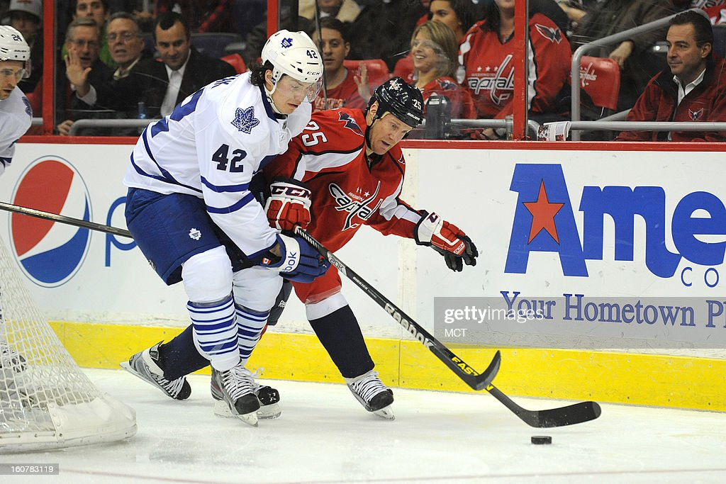 Toronto Maple Leafs center Tyler Bozak (42) and Washington Capitals left wing Jason Chimera (25) fight for a loose puck during second-period action at the Verizon Center in Washington, D.C., Tuesday, February 5, 2013.