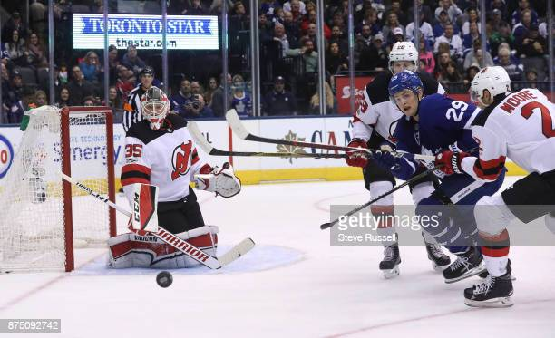TORONTO ON NOVEMBER 16 Toronto Maple Leafs center William Nylander chases a loose puck as the Toronto Maple Leafs play the New Jersey Devils at Air...